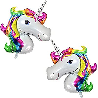 Rainbow Unicorn Balloons Birthday Backdrop – Large, Pack of 2 | Mylar Foil Balloon Decorations Supplies Kit | Great for Unicorn Themed Bday Party Favor, Baby Shower, Home Office Décor: Toys & Games