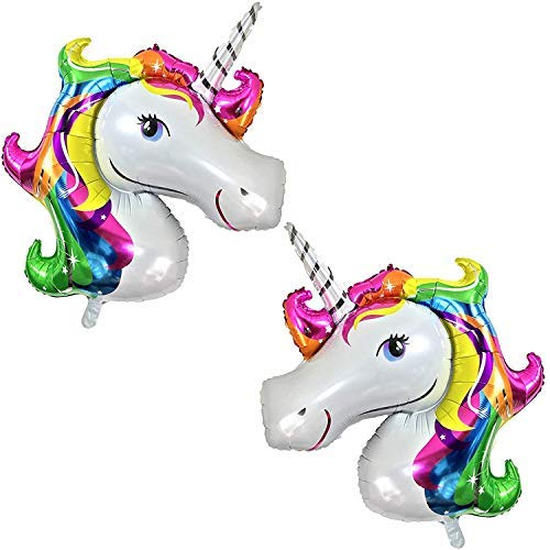 Rainbow Unicorn Balloons Birthday Backdrop - Large, Pack of 2 | Mylar Foil Balloon Decorations Supplies Kit | Great for Unicorn Themed Bday Party Favor, Baby Shower, Home Office Décor
