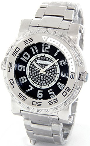 JOJINO Real Diamond Watch Mens Deluxe Silver Tone Case Metal Band - Diamond Chronograph Bracelet