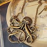 Lady Vintage Bronze Octopus Pendant charm Long Chain Necklace