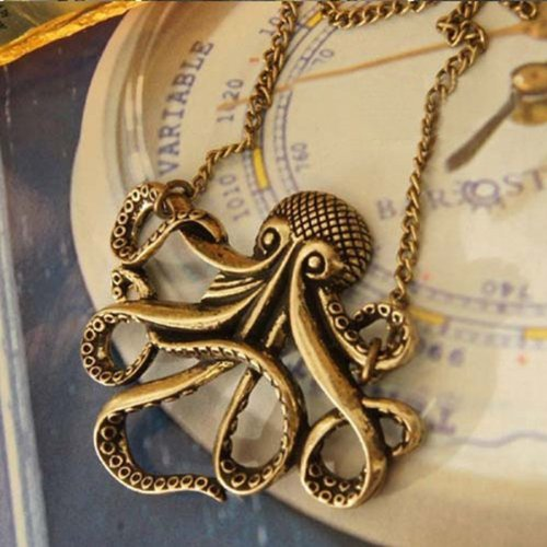 Lady vintage bronze octopus pendant charm long chain necklace lady vintage bronze octopus pendant charm long chain necklace mozeypictures Choice Image
