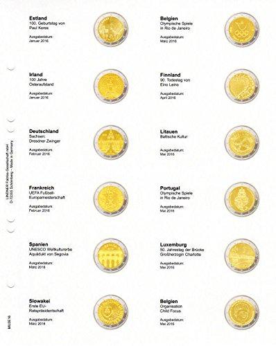 Feuille numismatique pré -imprimé e 2-Euro: Estonie 01/2016 - Belgique 05/2016 [Lindner MU2E16], Feuille pré -imprimé e avec feuille numismatique Multi Collect MU24 (Descriptif des piè ces en Allemand)