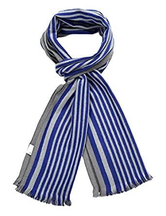 SSLR Men's Winter Cashmere Feel Striped Scarf (One Size, Blue Grey)
