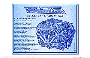Amazon c7 z06 lt4 corvette engine blueprint art print c7 z06 lt4 corvette engine blueprint art print malvernweather Gallery