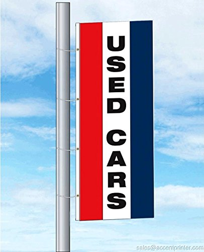 Dealer Flags - Used Cars Auto Dealer Free Flying Flag, 3'wx8'h, TriColor