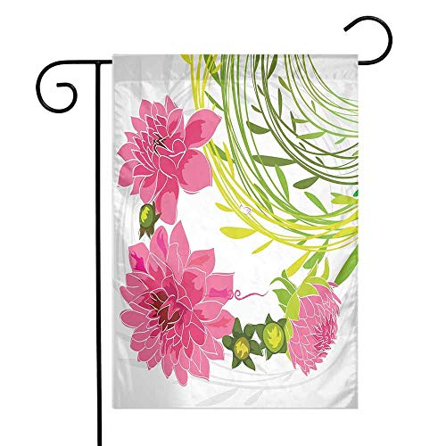 - Mannwarehouse Flowers Garden Flag Gentle Nature Theme Stylized Dahlia Blossoms Green Leaves and Butterfly Premium Material W12 x L18 Pink Green Pale Grey