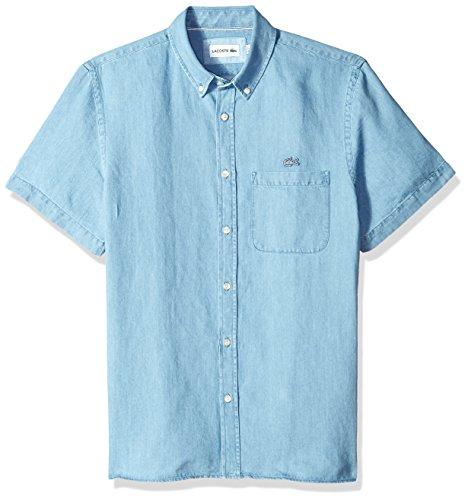 Lacoste Mens Short Sleeve Hawaii Collar Cotten/Linen Indigo Reg Fit Woven Shirt, CH4974
