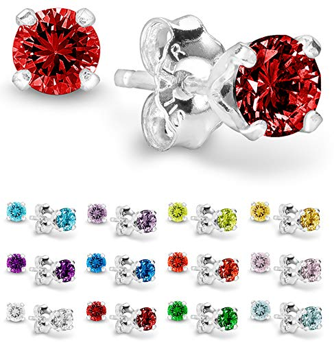 Piercing Birthstone Earrings - Birthstone Stud Earrings 4 mm - 925 Sterling Silver with Cubic Zirconia Crystal - July (Ruby)