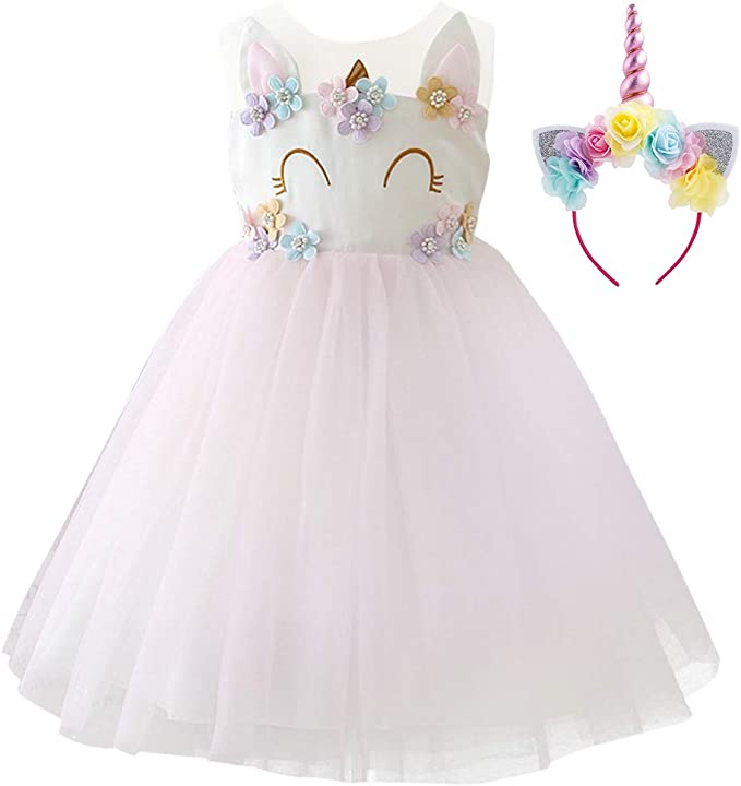 Amazon.com: Disfraz de unicornio para niñas con tutú de tul ...