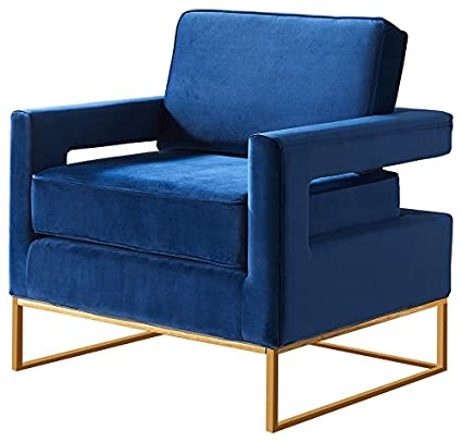 Meridian Furniture 511Navy Noah Velvet Upholstered Armchair Square Arms and with Gold Stainless Steel Base,
