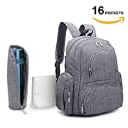 REGIONAL'S Baby Diaper Backpack | Scratch Proof Diaper Bag with Insulated Pockets | Large Size Water-Resistant Baby Bag | Multi-Functional Travel Knapsack (Grey)