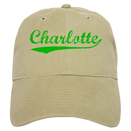 CafePress - Vintage Charlotte (Green) - Baseball Cap with Adjustable Closure, Unique Printed Baseball Hat