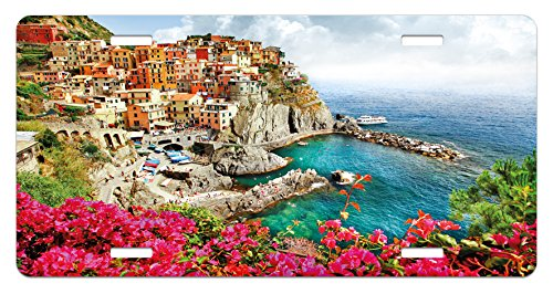Italy License Plate by Ambesonne, Monarola Antique Village in Cinque Terre Coastal Panorama Summer Beach Scenic View, High Gloss Aluminum Novelty Plate, 5.88 L X 11.88 W Inches, Multicolor