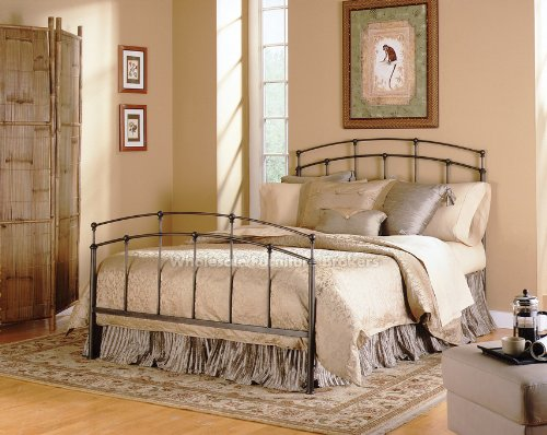 Fashion Bed Group 5/0 Fenton Complete Metal Duo Panels and Globe Finials, Black Walnut Finish, Queen