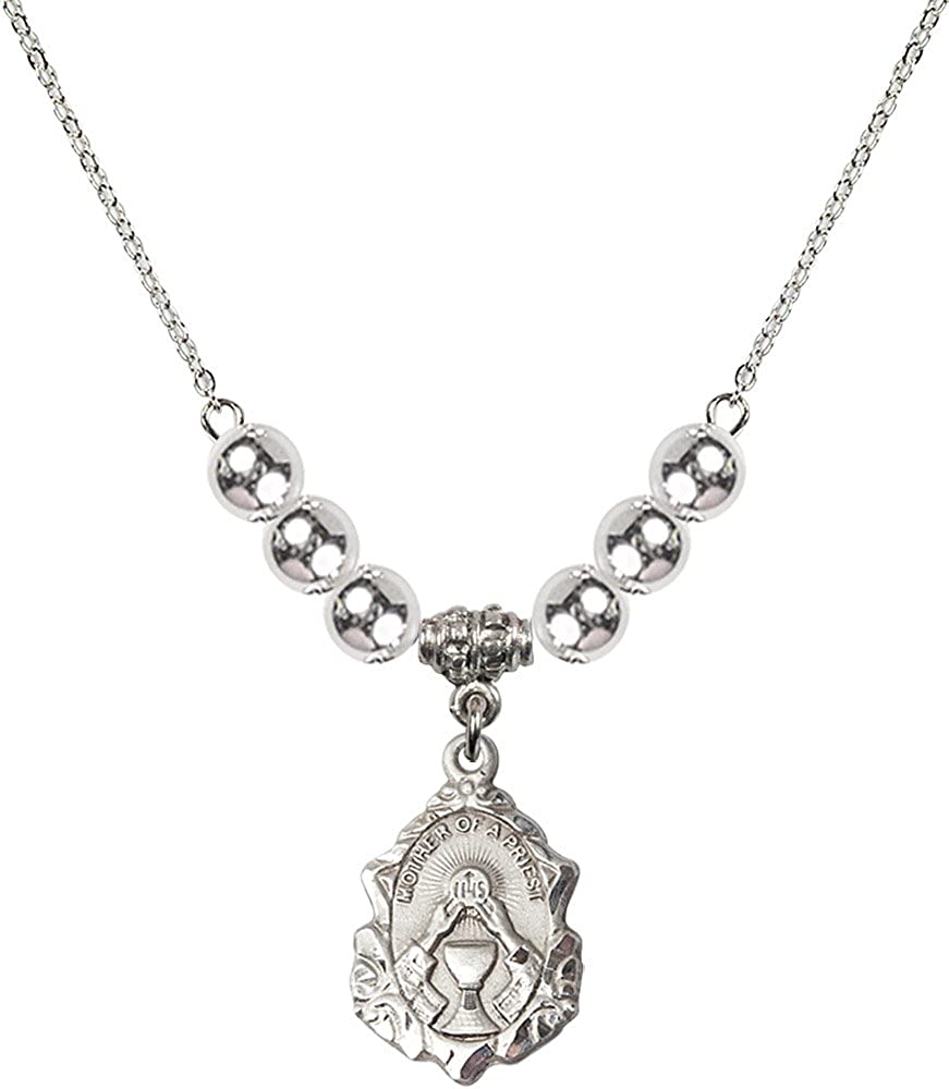 18-Inch Rhodium Plated Necklace with 6mm Sterling Silver Beads and Sterling Silver Mother of a Priest Charm.