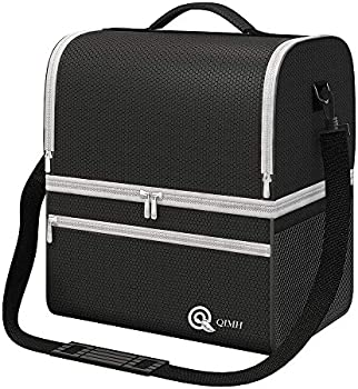 Qimh Insulated Lunch Bag with Dual Compartment & Shoulder Strap Pocket