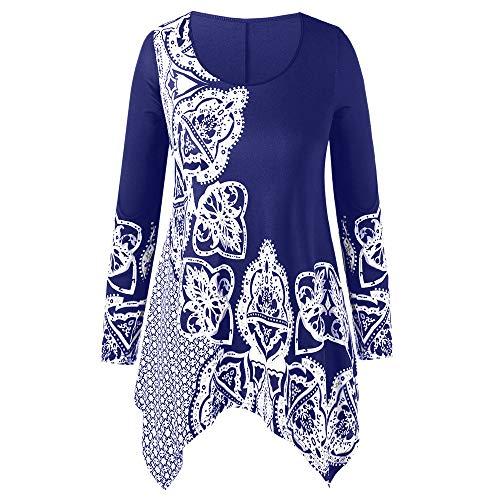 Fashion Women Plus Size O-Neck Folk-Custom Print Irregular Top Blouse -