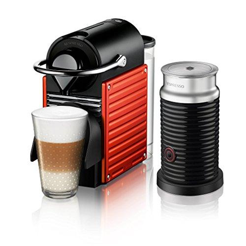 Cafetera Nespresso Pixie con Espumador de leche, Color Roja. (Incluye obsequio de 14 cápsulas de café)