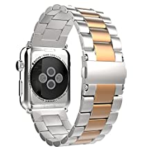 Apple Watch Band, MoKo Stainless Steel Metal Replacement Smart Watch Band Bracelet with Double Button Folding Clasp for 38mm Apple Watch All Models - Silver & Rose Gold (Not Fit iWatch 42mm 2015)