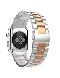 Apple Watch Band, MoKo Stainless Steel Metal Replacement Smart Watch Band Bracelet with Double Button Folding Clasp for 42mm Apple Watch All Models - Silver & Rose Gold (Not Fit iWatch 38mm 2015)
