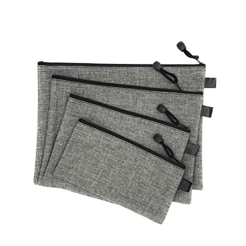 Utility Zipper Bags For Cash, Receipts, Paperwork, Cards, 4-Size Bags, (Interior Money Pouch)