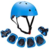 March Spring Kids Sport Protective Gear Set, Toddler Children Adjustable Helmet Elbow Knee Wrist Pads for Roller Skating Cycling Skiing Bicycle Skateboard (7pcs Helmet & Protective Gear(Blue))