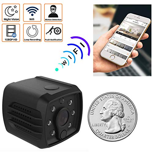 (Mini Spy Camera WiFi Hidden - Nanny Cam for Home Security, Wireless with Cell Phone App for Video on Device. Night Vision 140 Degree View. Indoor Motion Detector. HD 1080P, Recorder, USB Charger.)