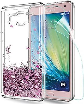 LeYi Funda Samsung Galaxy A5 2015 Silicona Purpurina Carcasa con HD Protectores de Pantalla,Transparente Cristal Bumper Telefono Gel TPU Fundas Case ...