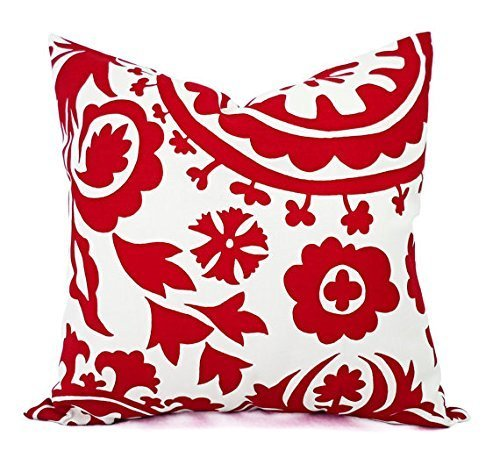 Amazon Bright Red And White Throw Pillow Cover In Custom Sizes Interesting Red And White Decorative Pillows