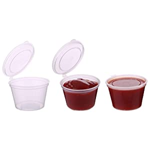 Laojbaba 2-OZ Disposable Plastic Sauce Cup With Cover,Leak Proof, Seasoning, Custard Plastic Cup, Jelly Bubble Cup, Very Suitable For Mucus Storage, Sample Distribution, Food Storage And So On,50 Pieces