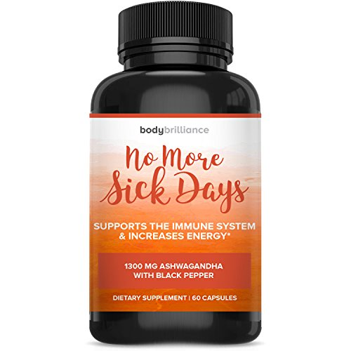No More Sick Days – 1300 mg ASHWAGANDHA - Energy & Mood Enhancer, Stress Support & Immune Booster by Body Brillance