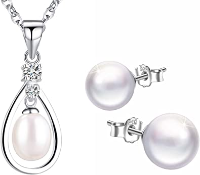 Simulated Pearl Necklace Stud Earrings 925 Sterling Silver Jewellery Set for Women Girls