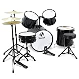 Novah Premium Full Size Complete Adult 5 Piece Drum Set w/ Cymbals, Stands, Stool & Sticks, Black