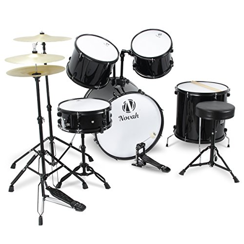 novah-premium-full-size-complete-adult-5-piece-drum-set-w-cymbals-stands-stool-sticks-black