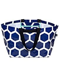 Stylish Beach Swim Bag Practical Lightweight Extra-Large Carry-all Tote Bag Anchor Blue Hexagon