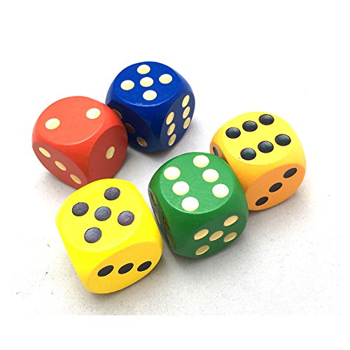 Smartdealspro Set of 5 Random Color Large 1 1/5 Round Edge Wooden Dice (5 Colors with dots)