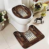 SOCOMIMI 2 Piece Toilet mat Set Collection Illustration Antique Myst Gate Oriental Islamic Pattern Curvings Artistic 2 Piece Shower Mat Set