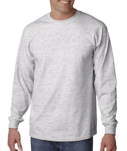 - Gildan Ultra Cotton 6 oz. Long-Sleeve T-Shirt, 5XL, ASH GREY