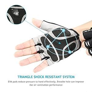 INBIKE Men's Gel Cycling Gloves Reflective Half Finger Bicycle Glove Large Black