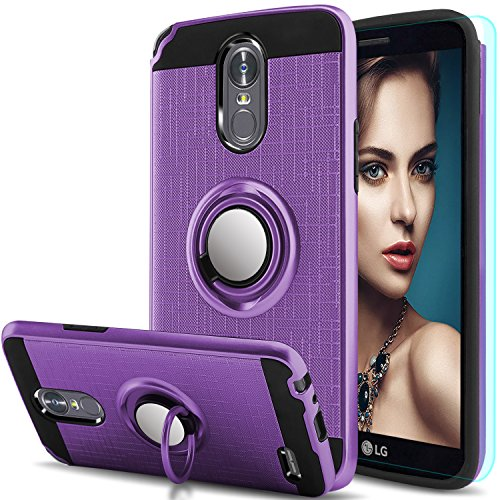 LG Stylo 3 Case,LG Stylo 3 Plus, Stylus 3 Case with HD Screen Protector,Anoke Cellphone 360 Degree Rotating Ring Holder Kickstand Scratch Resistant Drop Protective Cover for LG LS777 ZS Purple