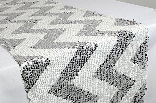 Christmas Tablescape Decor - Contemporary Silver and White Chevron Sequin Table Runner