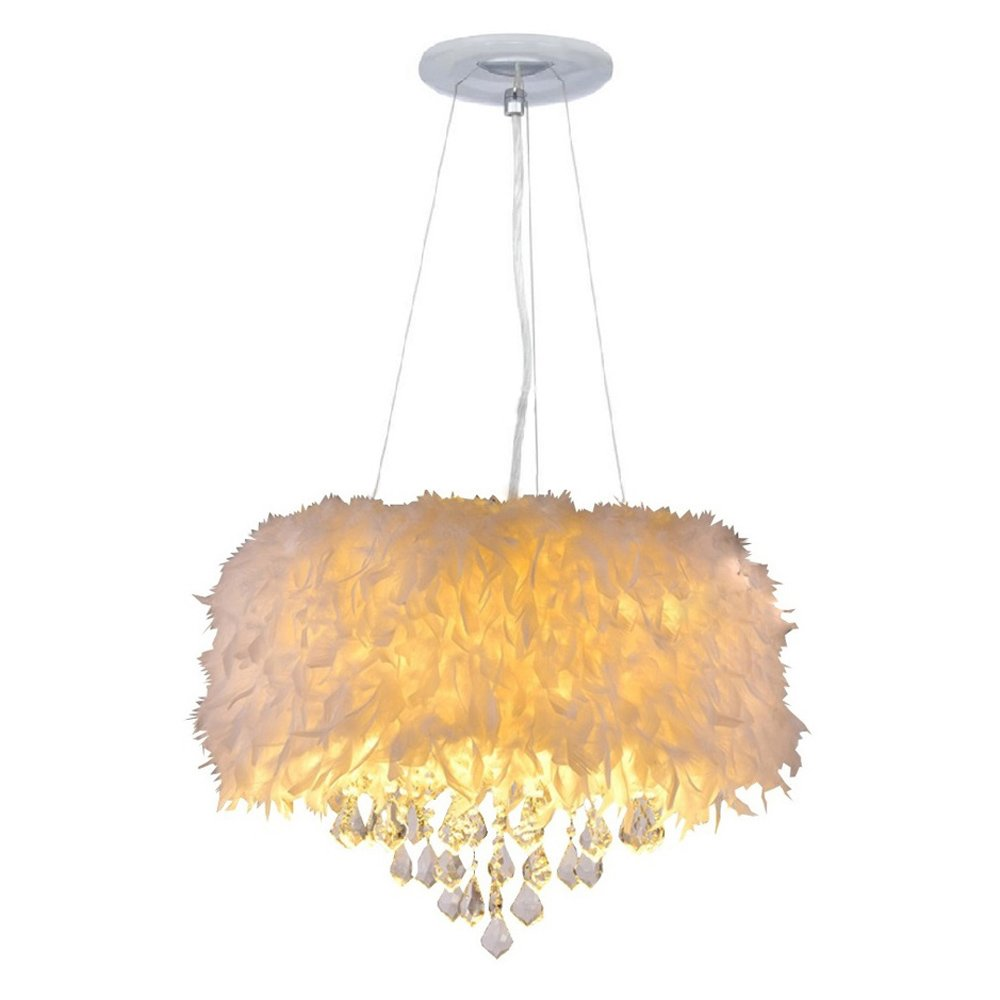 Surpars House White Feather Crystal Chandelier 4-Light Pendant Light