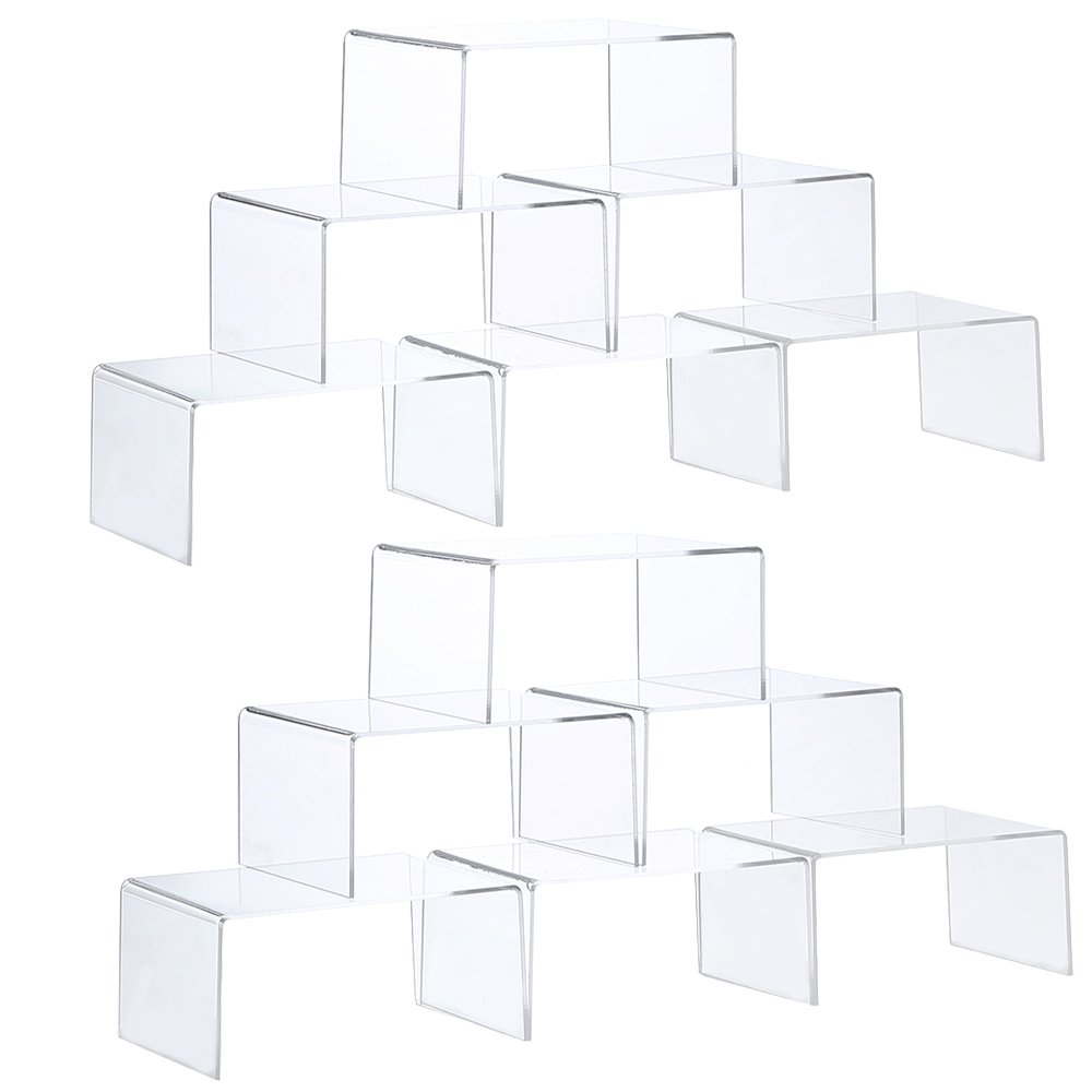 """ihomecooker 12 Pack Clear Acrylic Display Risers Showcase for Jewelry Pop Figure Toy Stand 4"""" x 3''x 2'' (12 Pack 4"""" x 3''x 2'')"""