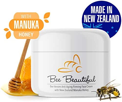 Bee Venom Anti-Aging Face Firming Cream by Bee Beautiful, New Zealand Made, 100% Natural Manuka Honey, Better than Moisturizer Lotion or Serum, For Eyes, Neck, Hands, & Decollete, 3.50 fl oz, 100gm
