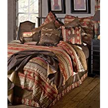Rustic Western Southwestern Equestrian Comforter set with horses and native american prints 5PC Flying Horse (Queen) R4L1106-5
