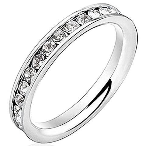 Men Women 3mm White Gold Stainless Steel Channel Set Cubic Zirconia CZ Inlay Ring Engagement Wedding Band Size (Promise Ring Size 5 White Gold)