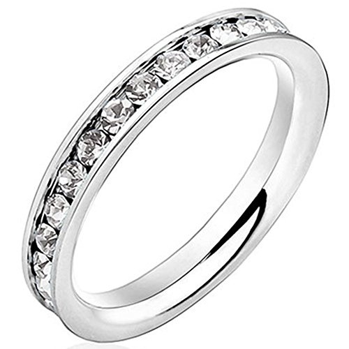 Men Women 3mm White Gold Stainless Steel Channel Set Cubic Zirconia CZ Inlay Ring Engagement Wedding Band Size 8