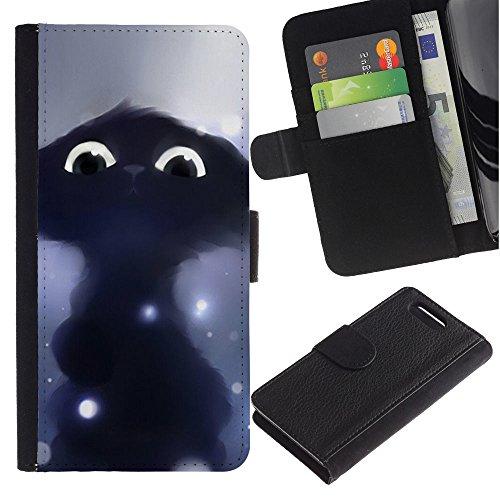 LASTONE PHONE CASE / Lujo Billetera de Cuero Caso del tirón Titular de la tarjeta Flip Carcasa Funda para Sony Xperia Z1 Compact D5503 / Drawing Cat Black Cute Eyes Painting