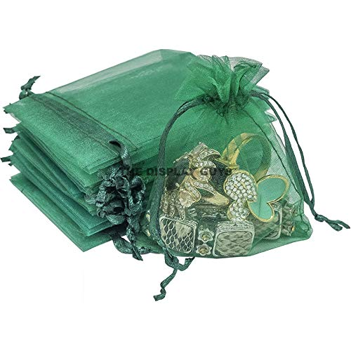 The Display Guys 100-pc 4x6 Green Sheer Organza Gift Bag with Drawstring, Jewelry Candy Treat Wedding Party Favors Mesh - Green 100% Nylon