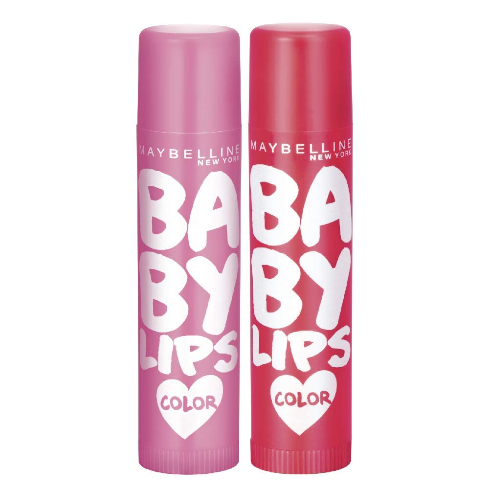 Maybelline New York Baby Lips Pink Lolita & Baby Lips Cherry Kiss, Pink, Red, 31.2 g (Pack of 2)
